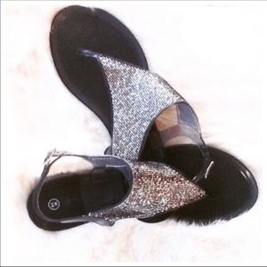 Shoes - Silver Glitter Jelly Sandals